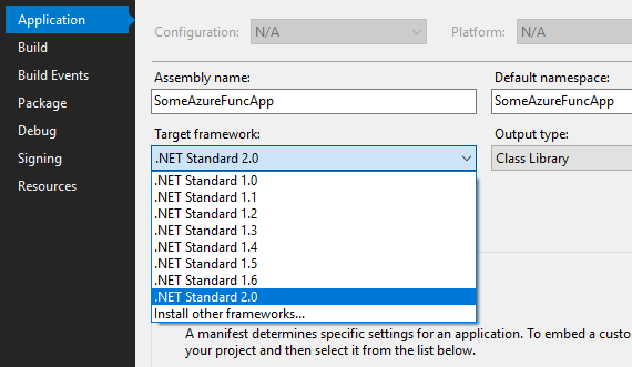 Select net standard version